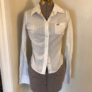 Hollister white button down shirt